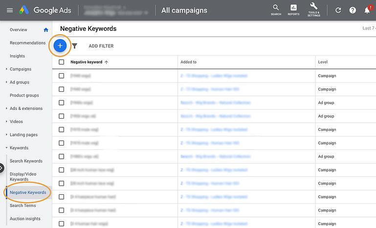 Adding Negative Keywords to Google Ads Account Screenshot Example