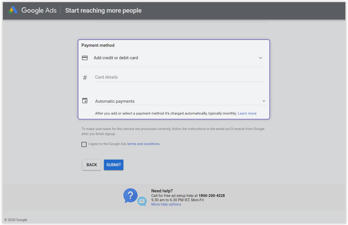 Google adwords Select Payment Mode