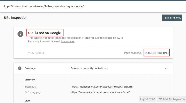 Web Search Console Request Indexing